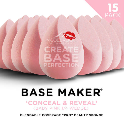 Base Maker® Beauty Sponge - 'CONCEAL & REVEAL' (Baby Pink 1/4 Wedge) - 15 BULK PACK