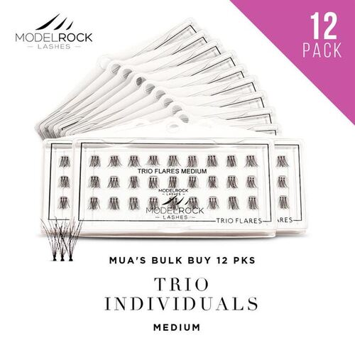 WEBSITE ONLY EXCLUSIVE - TRIO Flares Individual Lashes  - **MEDIUM** 10mm - 'BULK BUY 12 PKS'