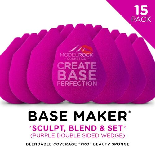 Base Maker® Beauty Sponge - 'SCULPT - BLEND - SET' (Purple Double Sided Wedge) - 15 BULK PACK